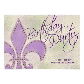 Fancy Swirl Purple Fleur de Lis Birthday Party Invitations
