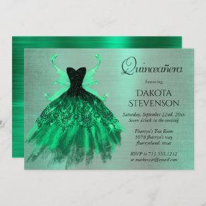 Fantasy Iridescent Green Pixie Dress Quinceanera Invitation
