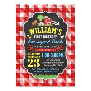 Farm 1st Birthday Invitations Red Tractors Barnyard