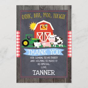 Farm And Tractor Birthday Thank You