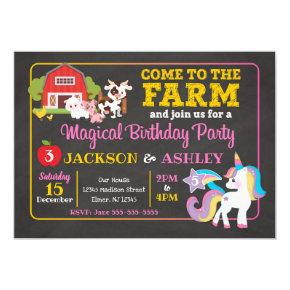 Farm and Unicorn Joint Birthday Invitation