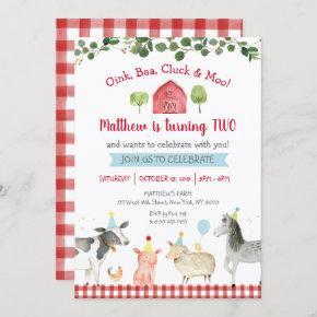 Farm Animal Greenery 2nd Birthday Invitation