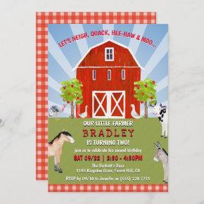 Farm Animals 2nd Birthday Invitation
