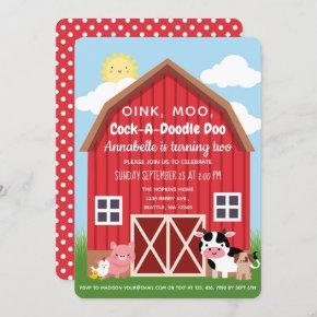 Farm Animals Barnyard Birthday Invitation