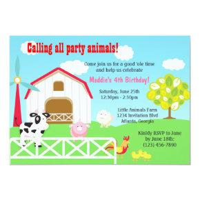 Farm Animals Barnyard Birthday Party Invitation