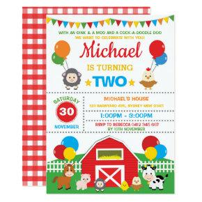 Farm Animals Barnyard Birthday Party Petting Zoo Invitations