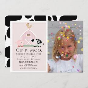 Farm Animals Barnyard Pink Girl Photo Birthday Invitation