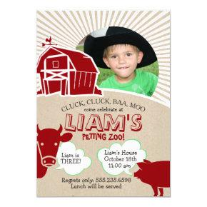 Farm Animals Birthday Invitations, Petting Zoo Invitations