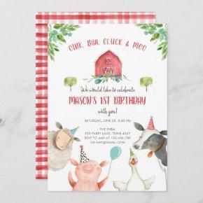 Farm Animals Boy Red Gingham Barnyard Birthday Invitation