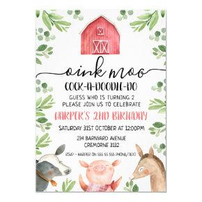 Farm Animals Foliage 2nd Birthday Invitation