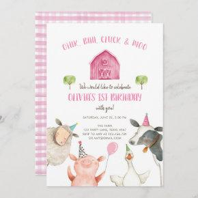 Farm Animals Girl Pink Gingham Barnyard Birthday Invitation