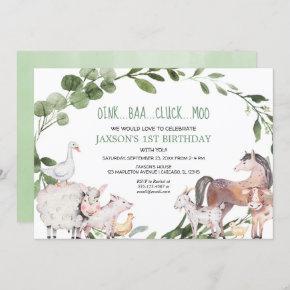 Farm animals watercolor barnyard boy birthday invitation