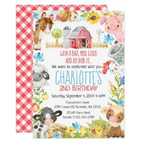 Farm Barnyard Animal Birthday Invitation