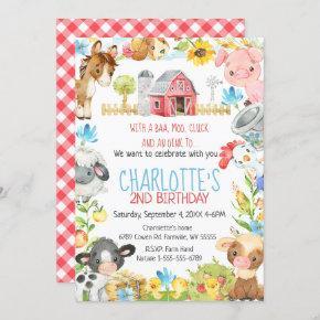 Farm Barnyard Animal Birthday Invitation