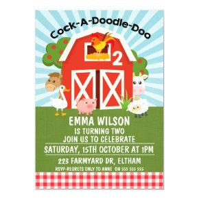 Farm Barnyard Animals 2nd Birthday Invitation