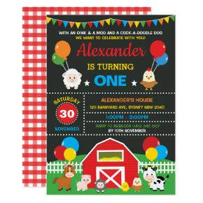 Farm Barnyard Animals Birthday Party Chalkboard Invitations