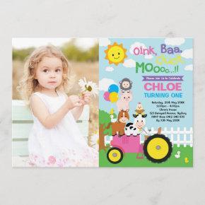 Farm Barnyard Animals Old MacDonald Girl Birthday Invitation