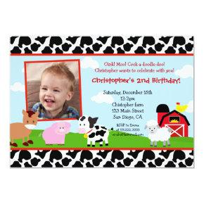 Farm Barnyard Birthday Invitations