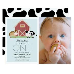 Farm Barnyard Blue Boy Photo 1st Birthday Invitation