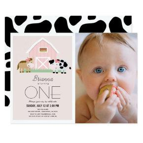 Farm Barnyard Pink Girl Photo 1st Birthday Invitation