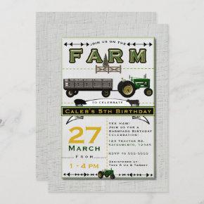 Farm Barnyard Tractor Birthday Party