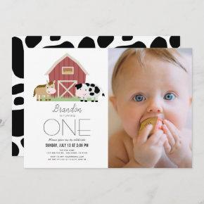 Farm Barnyard White Gender-neutral 1st Birthday Invitation