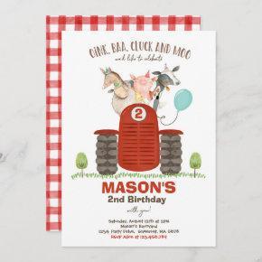 Farm Birthday Boy Old MacDonald Barnyard Party Invitation