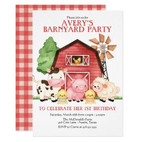 Farm Birthday Invitation, Barnyard Birthday Invitation