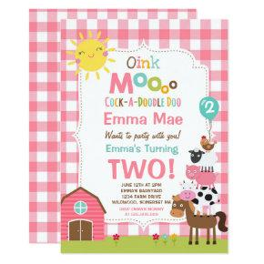 Farm Birthday Invitation Barnyard Birthday Party