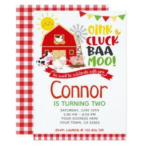 Farm Birthday Invitation, Barnyard Party Invitation
