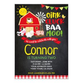 Farm Birthday Invitation, Chalkboard Invite