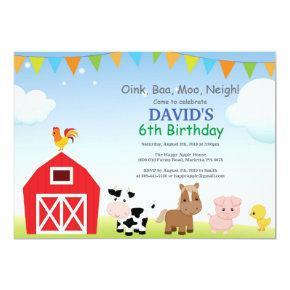 Country Barnyard Farm Animals Chalk Children/'s Birthday Party Invitations