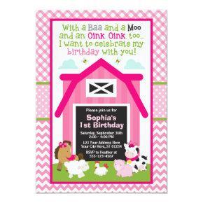 Farm Birthday Invitation   Girl Barnyard Birthday