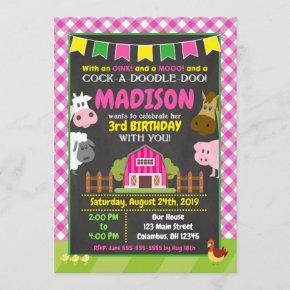Farm Birthday Invitation / Girl Barnyard Party