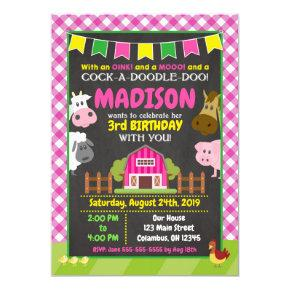 Farm Birthday Invitation / Girl Barnyard Party