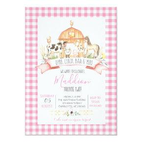 farm birthday invitation, girl farm party invitation