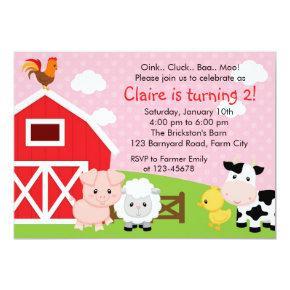 Farm Birthday Invitation - Girl (Pink) - Barnyard