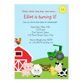 Farm Birthday Invitations with Green Tractor (Barn)