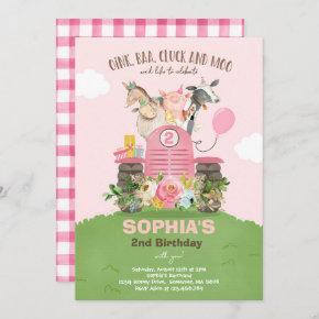 Farm Birthday Pink Old MacDonald Barnyard Party Invitation