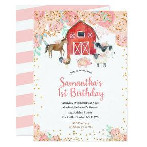 Farm Girl Birthday Invitation Pink Peach