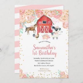 Farm Girl Birthday Invitation Pink Peach