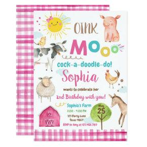 Farm Old MacDonald Barnyard Pink Animals Party Invitation