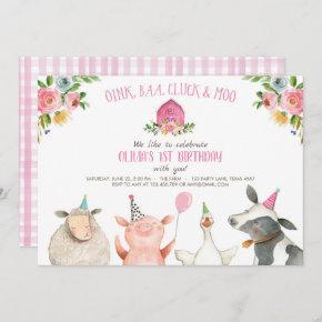 Farm Old MacDonald Barnyard Pink Animals Party Invitation
