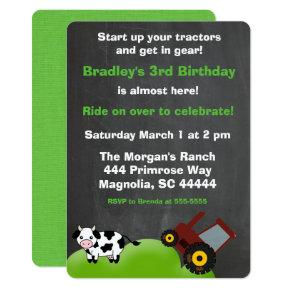 Farm Tractor and Cow Chalkboard Invitations