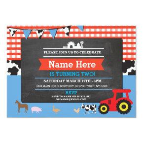 Farm Yard Birthday Party Animal Pig Tractor Invite