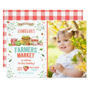 Farmers Market Grown Veggies Fruits Red Girl Party Invitation