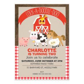 Farmyard Barnyard Animals Birthday Invitations