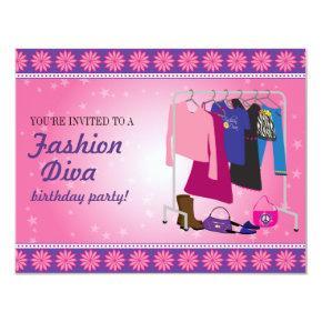 Fashion Diva Birthday Party Invitation