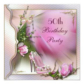 Fashion Shoes Magnolia Butterfly 50th Birthday Invitation