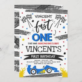 Fast One 1st Birthday Party Blue Race Car Fast One Invitation